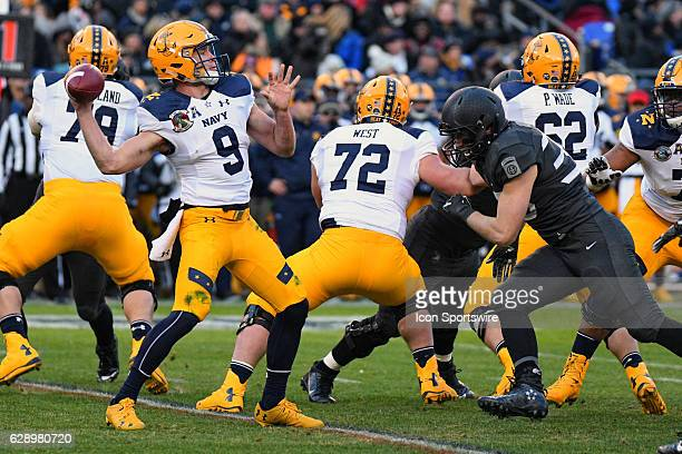 Navy Midshipmen quarterback Zach Abey passes the ball against the Army Black Knights on December 10 2016 at MT Bank Stadium in Baltimore MD in the...