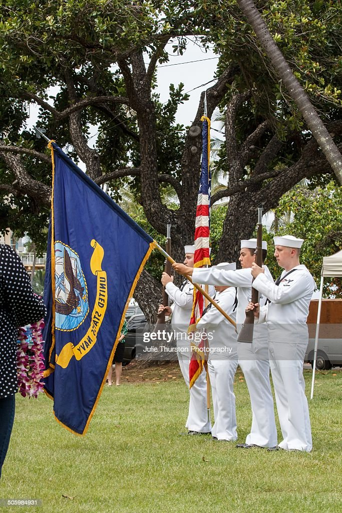 Navy Military Color Guard in Uniform Holding American and