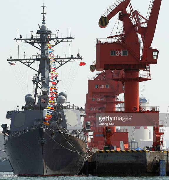 S navy missile destroyer USS Fitzgerald docks at Qingdao Port to attend an international fleet review to be held on April 23 to celebrate the 60th...