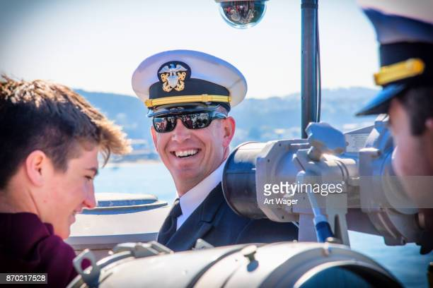navy officer onboard the uss essex - fleet week stock photos and pictures