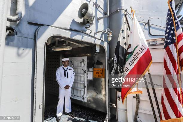 S Navy officer seen on duty onboard the USS Carl Vinson aircraft carrier at Tien Sa Port on March 6 2018 in Danang Vietnam A United States aircraft...