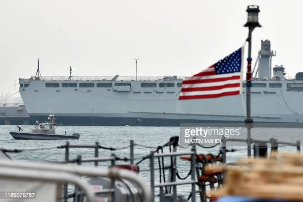 Navy patrol ship guards US and coalitions ships docked at the US 5th Fleet Command in Bahrain's capital Manama on December 17 2019