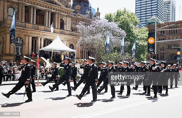 Navy personnel from HTMS Krabi salute the GovernorGeneral as they march down George Street on October 9 2013 in Sydney Australia Over 4000 personnel...