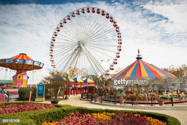navy pier amusement park in chicago illinois usa - navy pier stock pictures, royalty-free photos & images