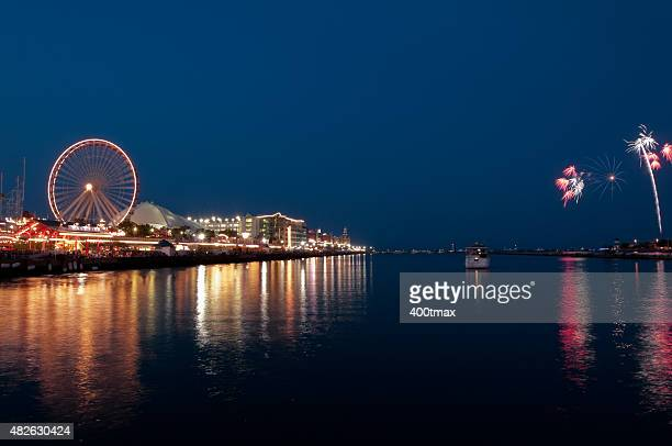 navy pier fireworks - navy pier stock pictures, royalty-free photos & images