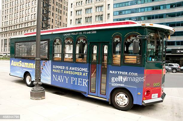 navy pier trolley bus - wacker drive stock photos and pictures