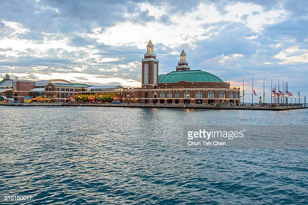 navy pier with lake michigan - cook county illinois stock photos and pictures