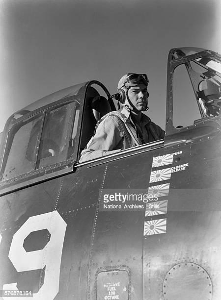Navy Pilot in an F6F Hellcat Fighter