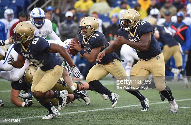 Navy quarterback Keenan Reynolds breaks a 50 plus yard run to the one yard line during second quarter action against Air Force on October 3 2015 in...