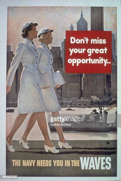 US Navy recruitment poster for the 'Women Accepted for Volunteer Emergency Service' program features two uniformed women in dress whites as they walk...