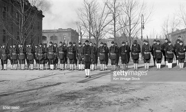 Navy recruits in formation on the grounds of Great Lakes Naval Training Station in North Chicago Illinois before World War I