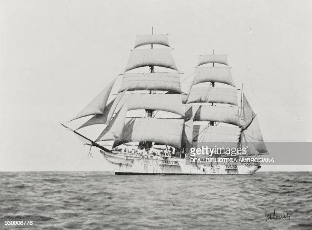 Navy sailing ship Amerigo Vespucci on a cruise in the Red Sea from L'illustrazione Italiana Year XXIX No 45 November 9 1902