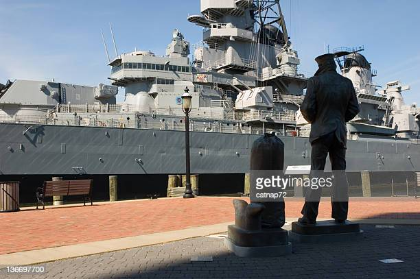 navy sailor and battleship uss wisconsin, us military ww2 - norfolk virginia stock photos and pictures