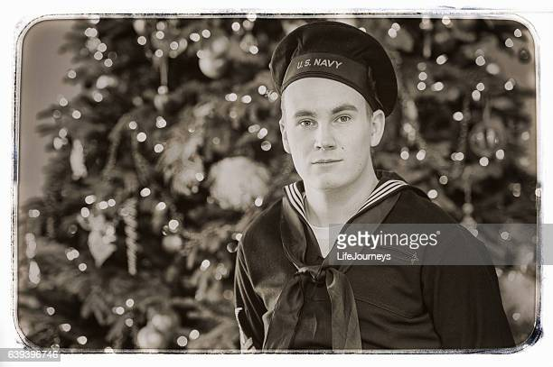 WWII US Navy Sailor Home For the Holidays