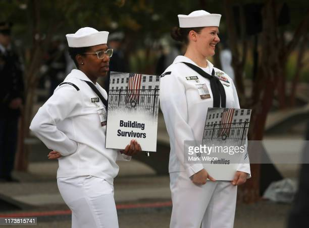 S Navy Sailors direct people on where to go before a ceremony at the Pentagon to commemorate the anniversary of the 9/11 terror attacks September 11...