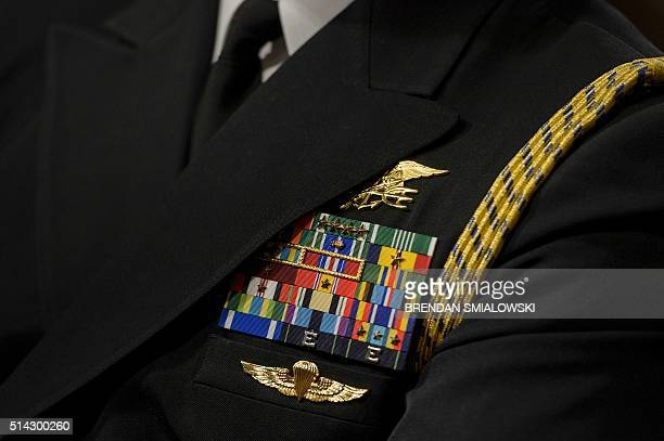 A Navy Seal's Trident is seen during a hearing of the Senate Armed Services Committee Senate Armed Services Committee March 8 2016 in Washington DC...