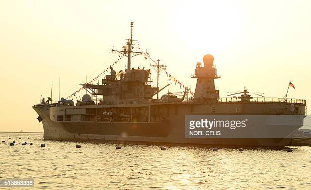 US Navy ship USS Blue Ridge is docked at the Manila Pier in Manila on March 5 2016 Blue Ridge is the oldest deployable warship of the US Navy and is...