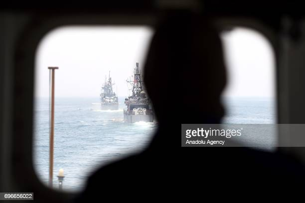 Navy ships are seen during a joint naval exercise between The US and Qatar in Persian Gulf Unspecified on June 16 2017 After 12 billion dollars worth...