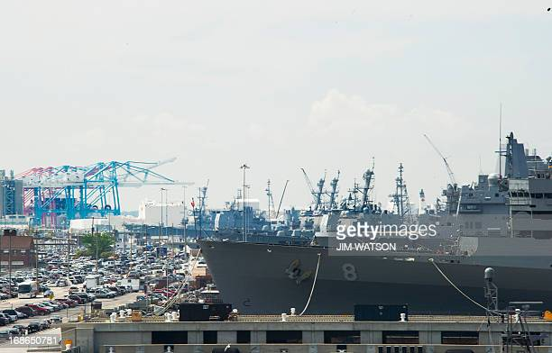 Navy ships line the pier at Naval Station Norfolk in Norfolk, Virginia, May 8 during the Department of Defense's tour deemed Navy 101. AFP PHOTO/JIM...