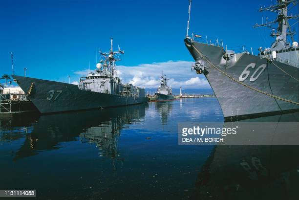 Navy ships moored in Pearl Harbor, Oahu island, Hawaii, USA.
