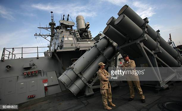 S Navy soldiers stand aboard the USS Higgins destroyer on October 29 2009 in Haifa Israel The crew of the USS Higgins is participating in an...