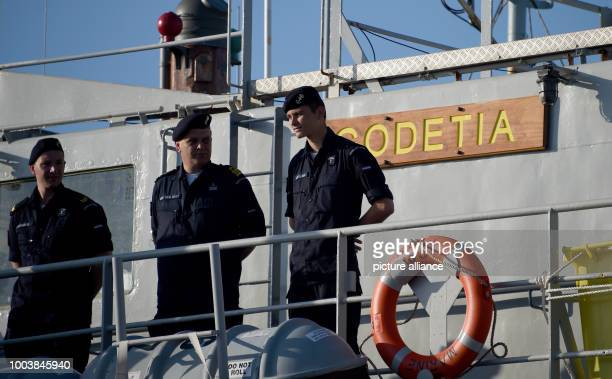 Navy soldiers stand on the Belgian battle ship 'Godetia' in Kiel Germany 16 June 2017 More than 40 navy ships from 13 nations will lie at anchor here...