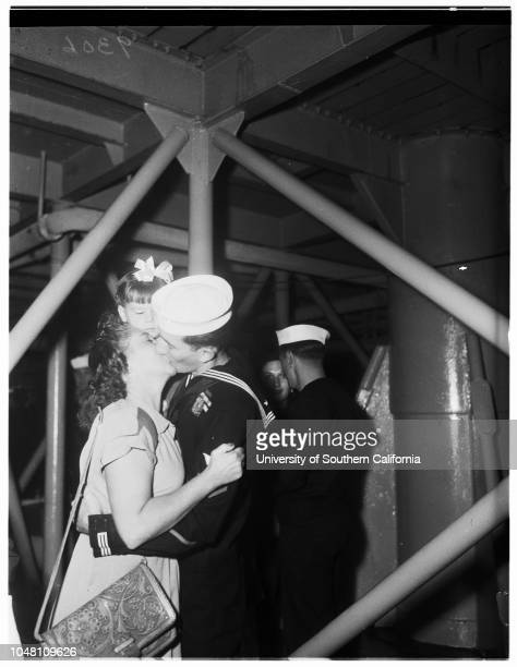 Navy Tanker back from KoreaUSS Platte 25 September 1951 Mrs James TylerMrs Edward A WeinerMrs Albert HuntleyMr Albert HuntleyMrs John MedillMrs PE...