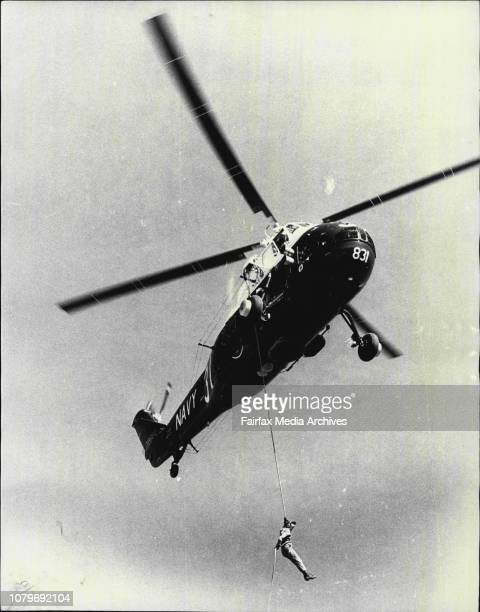Navy To Celebrate Fleet Air Arm's 25th Birthday Here Absailing 80 feet by rope to the ground from a Navy Wessex helicopter is Petty Officer John...