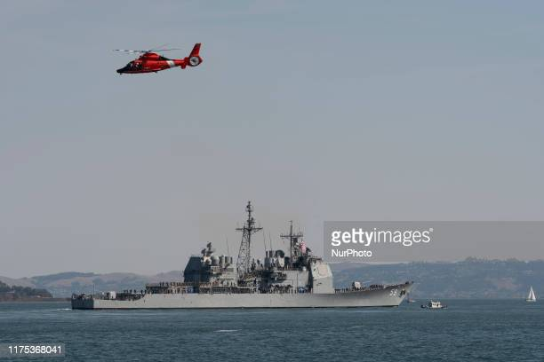 US Navy warship USS Princeton a Ticonderogaclass guided missile cruiser joins Parade of the Ships during Fleet Week 2019 in San Francisco California...