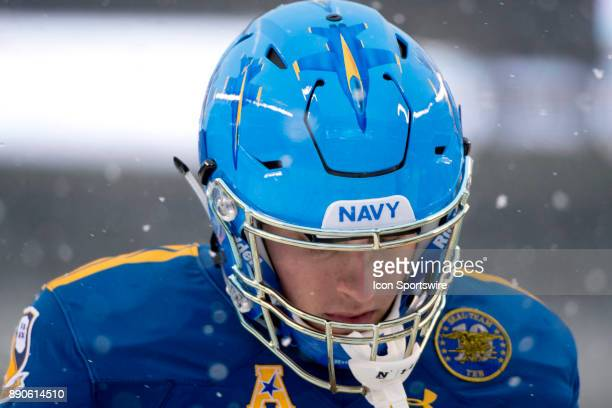 Navy WR Zack Fraade walks the field during warmups before the game between The Army Black Knights and Navy Midshipmen on December 09 2017 at Lincoln...