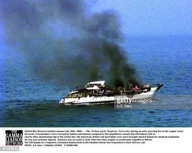Navy273Jpg Ionian Sea Western Mediterranean The 144 Foot Yacht Huntress Lost To Fire During An Early Morning Fire In The Engine Room All Seven...