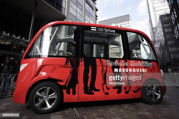 A Navya Arma autonomous shuttle bus manufactured by Navya Technologies SAS travels during a test drive in Tokyo Japan on Friday Dec 22 2017 The bus...