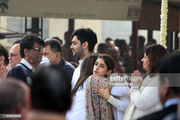 Navya Naveli Nanda at the funeral of Ritu Nanda at Lodhi Road Crematorium on January 14 2020 in New Delhi India Ritu Nanda late actor Raj Kapoor's...
