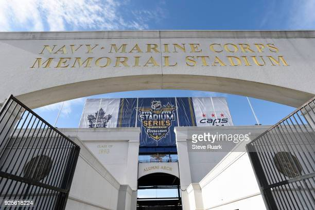 NavyMarine Corps Memorial Stadium is seen as preparations continue for the 2018 Coors Light NHL Stadium Series game on February 28 2018 in Annapolis...