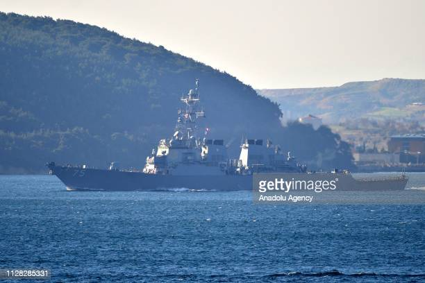 Navy's Arleigh Burke-class guided missile destroyer USS Donald Cook passes through Dardanelles Strait in Canakkale, Turkey on March 01, 2019.