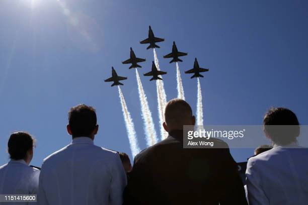 Navy's Blue Angels fly over the NavyMarine Corps Memorial Stadium during a graduation ceremony at the US Naval Academy May 24 2019 in Annapolis...