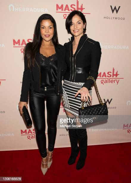 Nawal Bengholam and Ellen Hollman arrive at A Gogo by Mash Gallery on February 13, 2020 in Los Angeles, California.