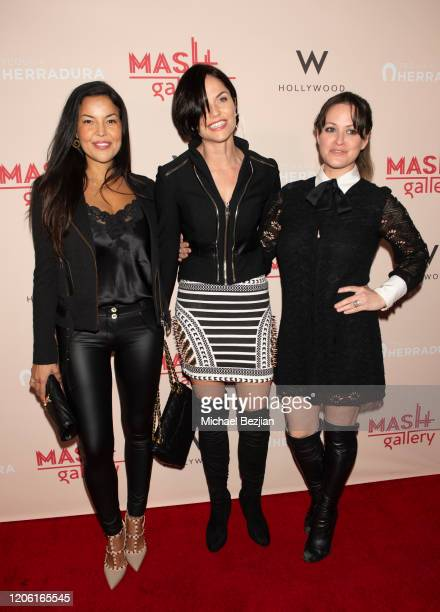 Nawal Bengholam, Ellen Hollman and Clementine Heath arrive at A Gogo by Mash Gallery on February 13, 2020 in Los Angeles, California.