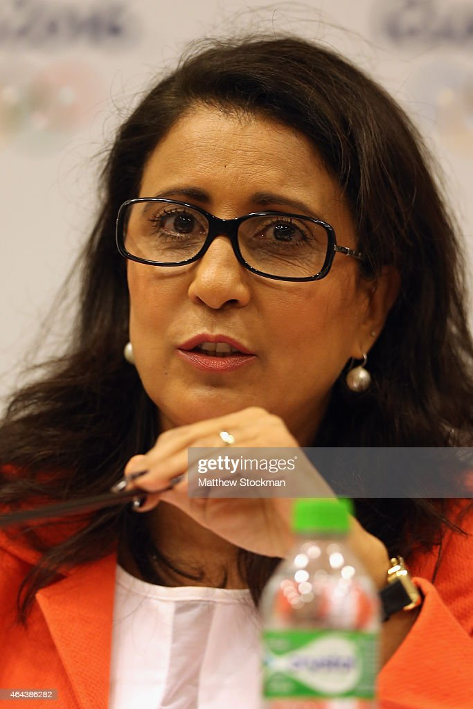Nawal El Moutawakel, IOC Member from Morocco and Commission Chair speaks at a press conference during the 8th Meeting of the IOC Coordination Commission at the Windsor Atlantica Hotel on February 25, 2015 in Rio de Janeiro, Brazil.