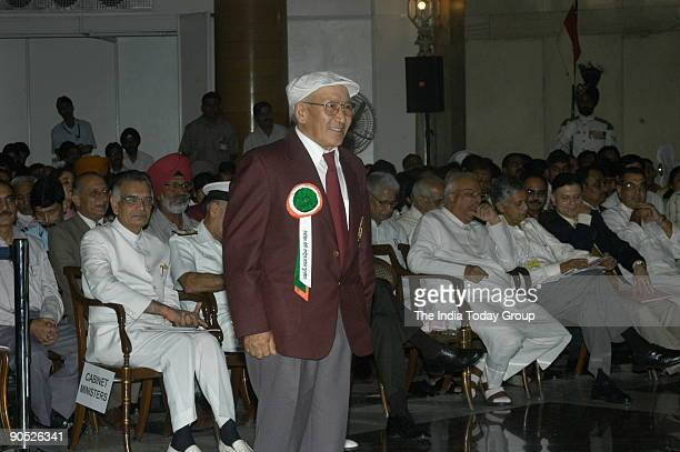 Nawang Gombu winners of the Tenzing Norgay National Adventure Award at Sports and Adventure Awards2005 function in New Delhi India