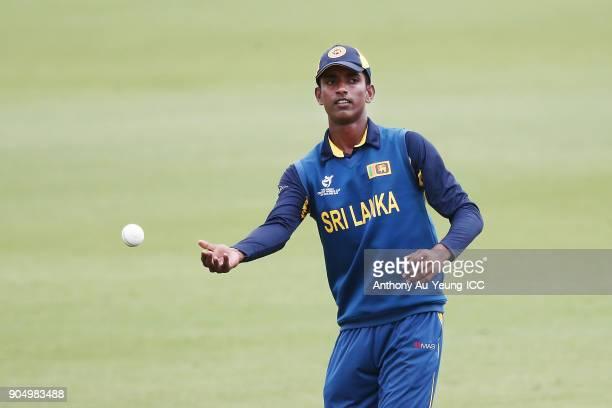 Nawanidu Fernando of Sri Lanka fields the ball during the ICC U19 Cricket World Cup match between Sri Lanka and Ireland at Cobham Oval on January 14...