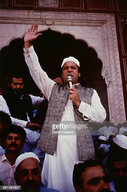Nawaz Sharif leader of the Islami Jamhoori Ittehad or Islamic Democratic Alliance speaking at the Badshahi Mosque in Lahore following his victory in...