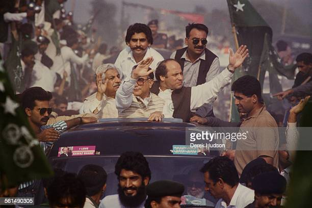 Nawaz Sharif leader of the Islami Jamhoori Ittehad or Islamic Democratic Alliance campaigning in Pattoki Pakistan during the runup to the Pakistani...
