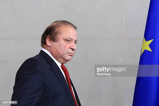 Nawaz Sharif Pakistan's prime minister arrives ahead of a news conference at the Chancellery in Berlin Germany on Tuesday Nov 11 2014 Angela Merkel...