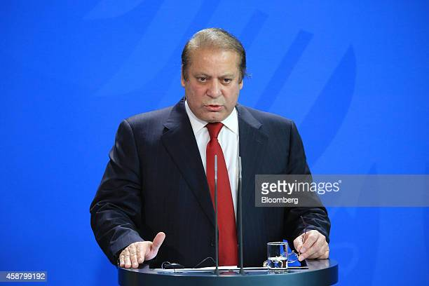 Nawaz Sharif Pakistan's prime minister speaks during a news conference at the Chancellery in Berlin Germany on Tuesday Nov 11 2014 Angela Merkel...