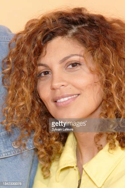 """Nawell Madani attends the photocall for the premiere of """"8 rue de l'Humanité"""" on September 24, 2021 in Vitry-en-Artois near Arras, France."""