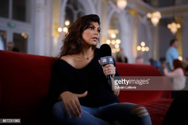 Nawell Madani speaks with a reporter during 32nd Namur International FrenchLanguage Film on October 3 2017 in Namur Belgium