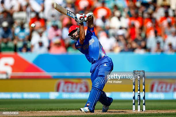Nawroz Mangal of Afghanistan bats during the 2015 ICC Cricket World Cup match between New Zealand and Afghanistan at McLean Park on March 8 2015 in...