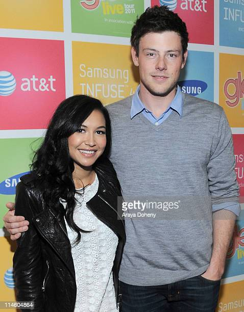 Naya Rivera and Cory Monteith sign autographs at the Calling all GLEEKS Glee Live Samsung Infuse 4G for ATT event at Stevens Creek AT T Store on May...