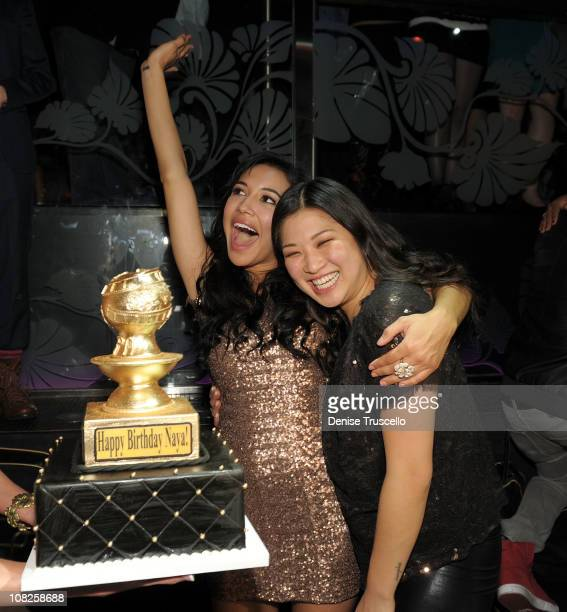 Naya Rivera and Jenna Ushkowitz celebrate Naya Rivera's birthday at The Bank Nightclub, Bellagio Hotel And Casino Resort on January 22, 2011 in Las...